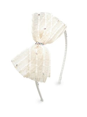 Girl's Swarovski Crystal & Organza Bow Headband