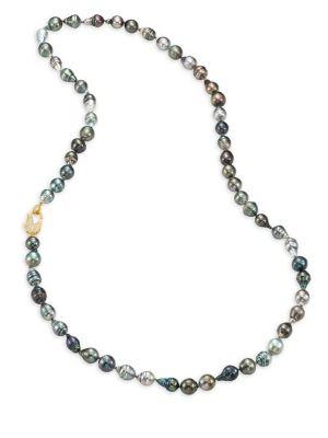 "JORDAN ALEXANDER 12MM-15MM Grey Baroque Tahitian Freshwater Pearl & Diamond Strand Necklace/36"""