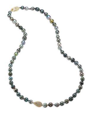 JORDAN ALEXANDER 10-12MM Grey Tahitian Pearl, Diamond & 18K Yellow Gold Strand Necklace
