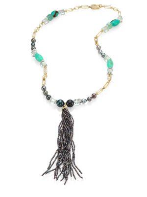 JORDAN ALEXANDER 2MM Grey Pearl, Diamond, Chrysoprase, Prasiolite, Emerald & 18k Yellow Gold Tassel Necklace