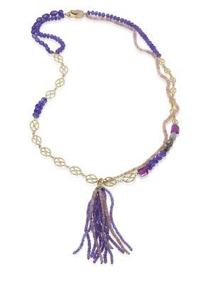 JORDAN ALEXANDER Diamond, Tanzanite, Amethyst, Opal & 18K Yellow Gold Tassel Necklace