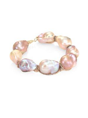 JORDAN ALEXANDER 15MM Natural Baroque Freshwater Pearl & 18K Tri-Tone Gold Bracelet