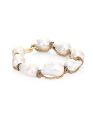 JORDAN ALEXANDER 15MM White Baroque Freshwater Pearl & 18K Tri-Tone Gold Bracelet