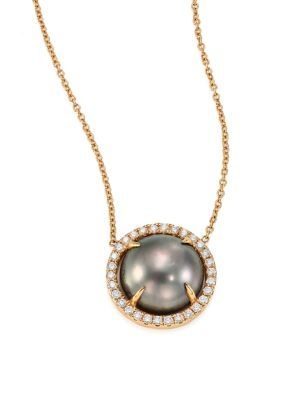 JORDAN ALEXANDER 10MM Grey Tahitian Freshwater Pearl, Diamond & 18K Yellow Gold Pendant Necklace