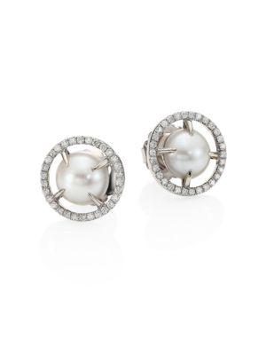 JORDAN ALEXANDER 10MM Sliced Round Freshwater Pearl, Diamond & 18K White Gold Stud Earrings