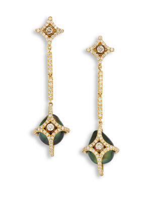 JORDAN ALEXANDER Diamond, 10MM Tahitian Pearl & 18K Yellow Gold Caged Drop Earrings