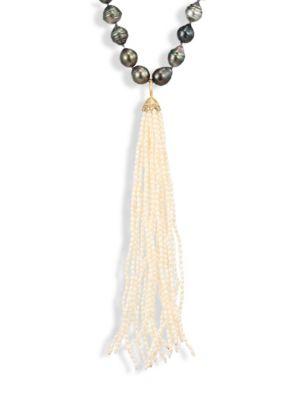 JORDAN ALEXANDER 2MM White Seed Pearl, Diamond & 18K Yellow Gold Tassel
