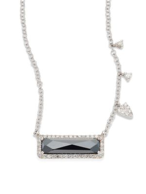 Diamond, Hematite & 14K White Gold Pendant Necklace