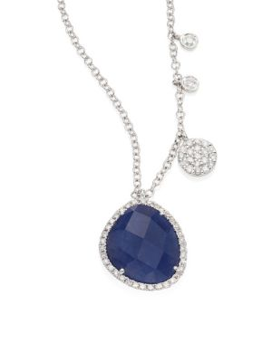 MEIRA T Diamond, Blue Sapphire & 14K White Gold Pendant Necklace