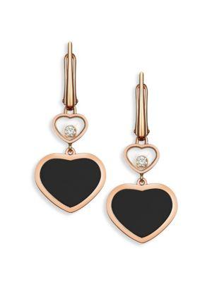 Happy Hearts 18K Rose Gold Diamond & Black Onyx Drop Earrings