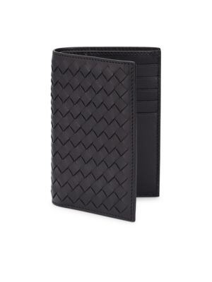 Woven Vertical Leather Bi-Fold Wallet