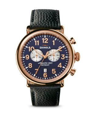 Runwell Chronograph PVD Rosegold Leather Strap Watch