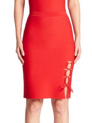 Lace-Up Slit Pencil Skirt
