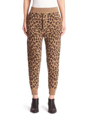 Leopard-Print Wool & Cashmere Sweatpants