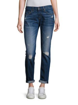 Dre Distressed Boyfriend Jeans plus size,  plus size fashion plus size appare