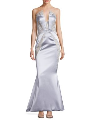 Strapless Lace Inset Mermaid Gown