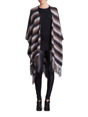 Striped Multi-Way Wrap Poncho