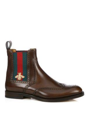 gucci male strand web chelsea boots