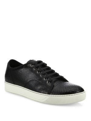 Cracked Patent Leather Low-Top Sneakers