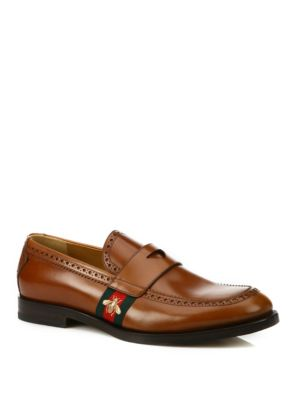 gucci male web leather loafers