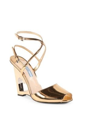 prada female metallic leather cutout heart wedge sandals