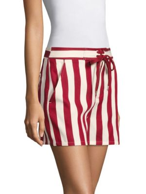 RED VALENTINO Striped Cotton-Blend Shorts