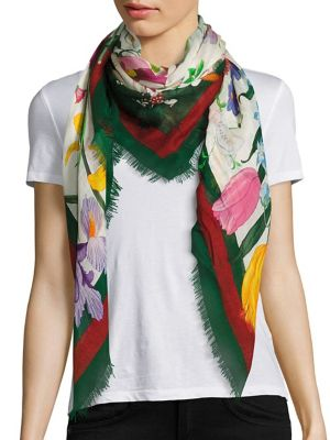gucci female floral web wool silk scarf