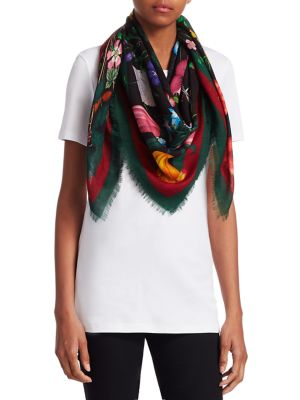 Floral Web Wool & Silk Scarf