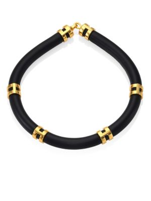 Double Take Leather Tube Necklace