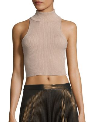 Presley Metallic Rib-Knit Cropped Top