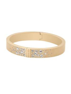 Modern Brilliance Crystal Hinged Bangle Bracelet/Goldtone
