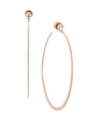 Modern Brilliance Large Crystal Rose Goldtone Hoop Earrings/2.25