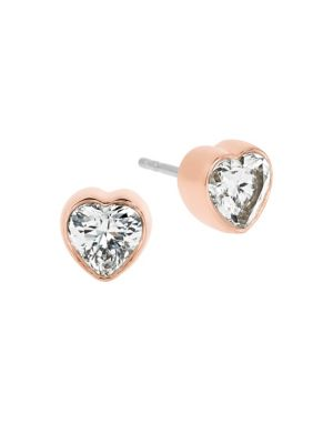 michael kors female modern brilliance crystal heart stud earringsrose goldtone