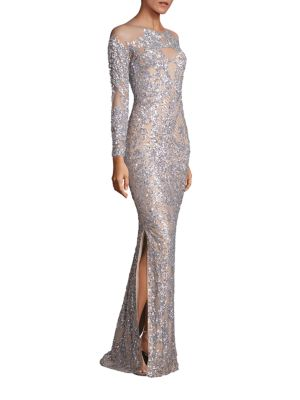 Silver Sequin Nude Gown