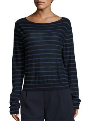 Striped Cashmere Boatneck Sweater