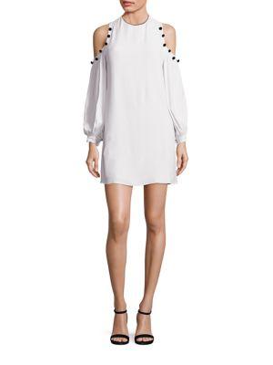Claudette Velvet Button Cold-Shoulder Dress
