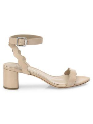 Emi Scallop Leather Block Heel Sandals