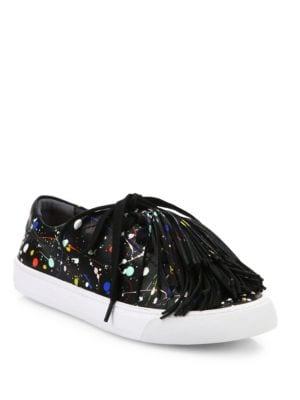 Logan Tassel Splatter Paint Leather Sneakers