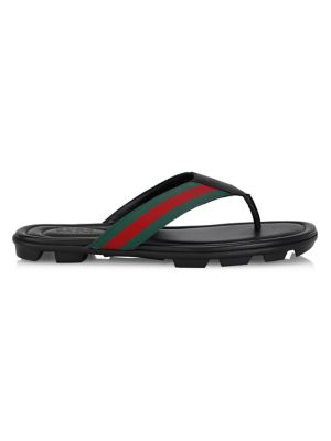 Web & Leather Thong Sandals by Gucci
