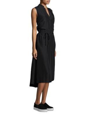 Silk Tie-Front Midi Dress