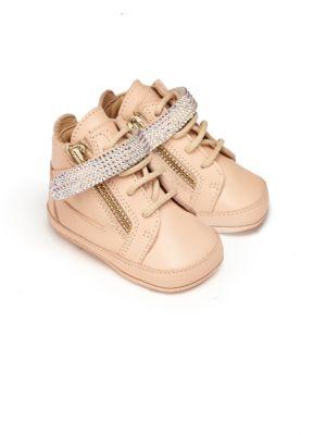 Baby's Swarovski Crystal Embellished Leather Crib Sneakers