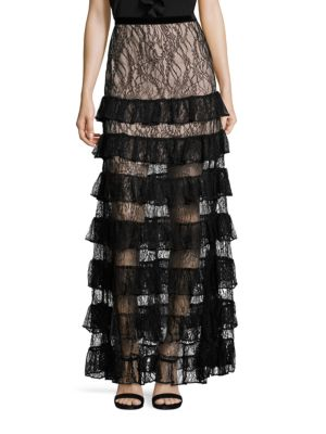 Vicky Long Tiered Lace Skirt