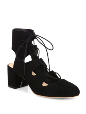 Lexi Suede Lace-Up Block Heel Pumps