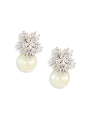 Monarch Starburst Faux-Pearl Drop Earrings