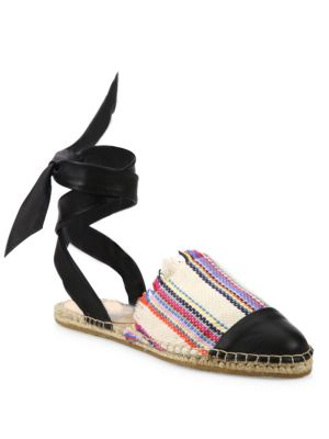 Heloise Canvas & Leather Ankle-Wrap Espadrilles