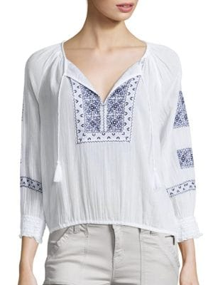 Riccie Embroidered Cotton Blouse plus size,  plus size fashion plus size appare