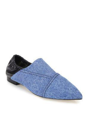 Denim & Leather Babouche Slippers