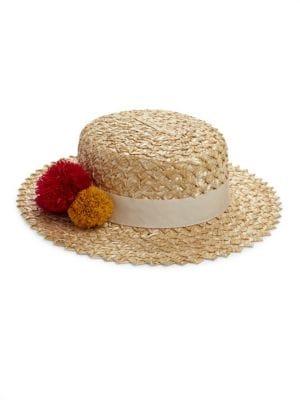 Brigitte Pom-Pom Boater Hat