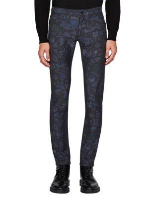 Skinny-Fit Floral Jacquard Jeans