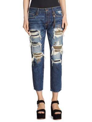 Savanna Cropped Slim Straight-Fit Distressed Jeans